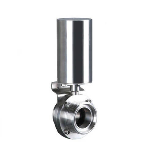 Hygienic Sanitary Stainless Steel male threaded Butterfly Valve With Pneumatic Actuator