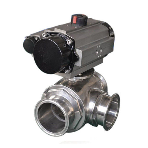 Sanitary three way ball valve SS304,SS316L,Pneumatic Operated,tri clamped connection