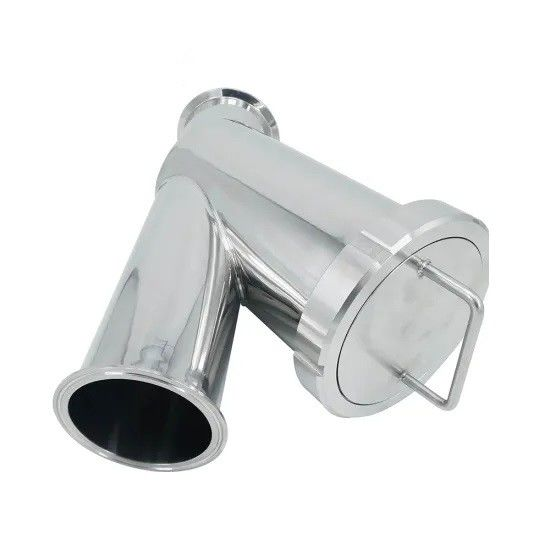 Tri Clamp Sanitary Filter , Stainless Steel Dairy Fittings Y Water Strainer Filter