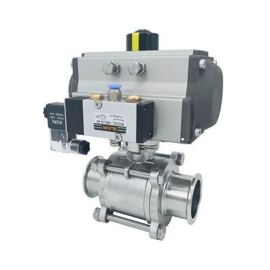 Hygienic Pneumatic Actuator Tri-Clamped 3pcs body Sanitary ss304,ss316 Ball Valves