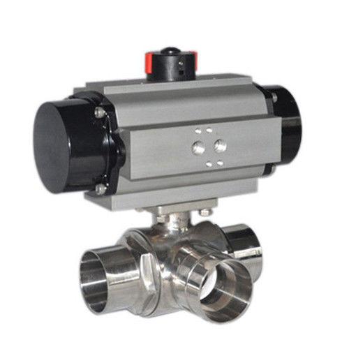 Sanitary SS304,316L,3 Way pneumatic Actuator,L port,T port,butt welded Ball Valve