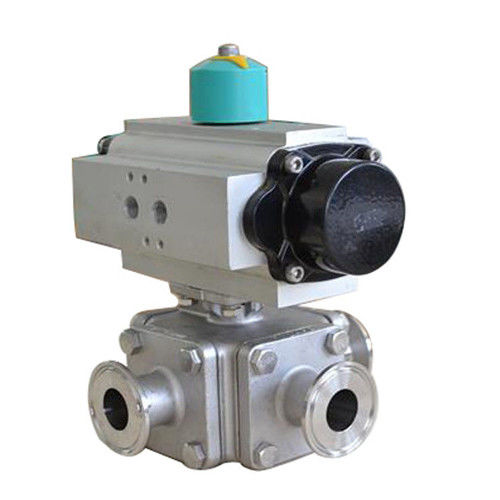 Stainless Steel Pneumatic operated 3 way sanitary Non-Retention Ball Valve tri-clamped