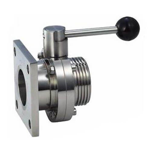 Sanitary Hygienic Stainless Steel 304,316L Square or Round Flange Manual Butterfly Valves