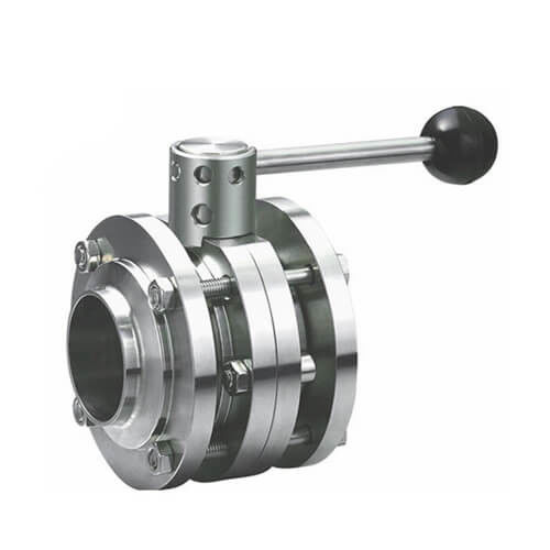 Sanitary Stainless Steel 3PCS Butterfly Valve welding type with Plastic Gripper Handle