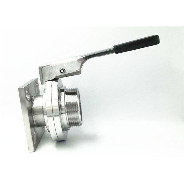 Sanitary ss 304 316L single Flange and male threaded Butterfly Valve handle