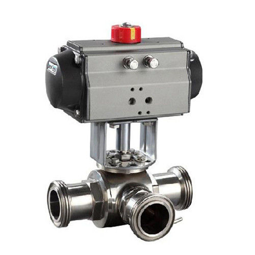 Sanitary SS304,3 Way pneumatic Actuator Ball Valve Male Thread, Floating type,manual type
