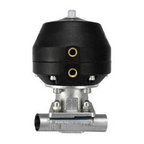 Sanitary stainless steel tri-clamp welded diaphragm valve pneumatic operated