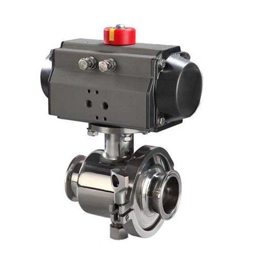 Sanitary stainless steel 2PC Tri Clamp Non Retention Ball Valve With Pneumatic Actuator