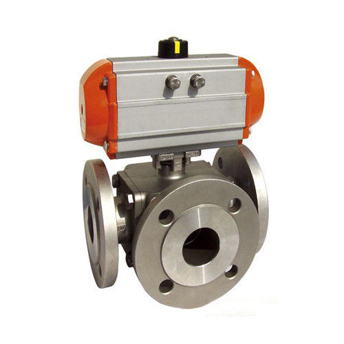 Sanitary SS 304,316 3 way Ball Valve Pneumatic operated Flanged End,PN16,PN40,L Port/T Port