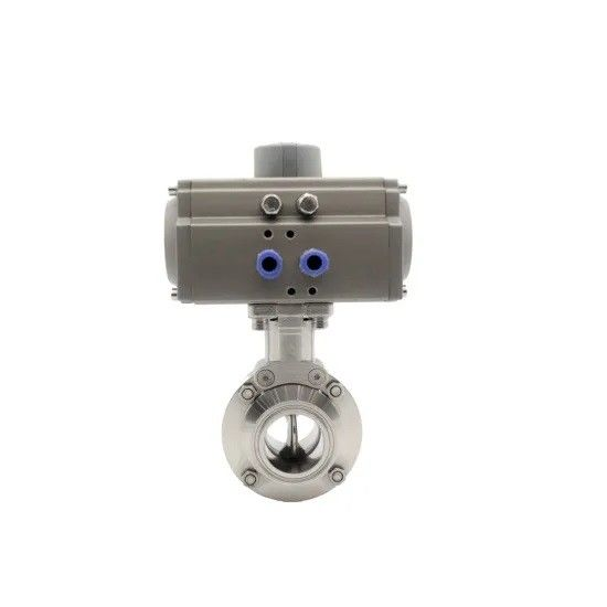 Stainless Steel 316L Sanitary Hygienic Pneumatic Actuator Tri Clamped Butterfly Valve