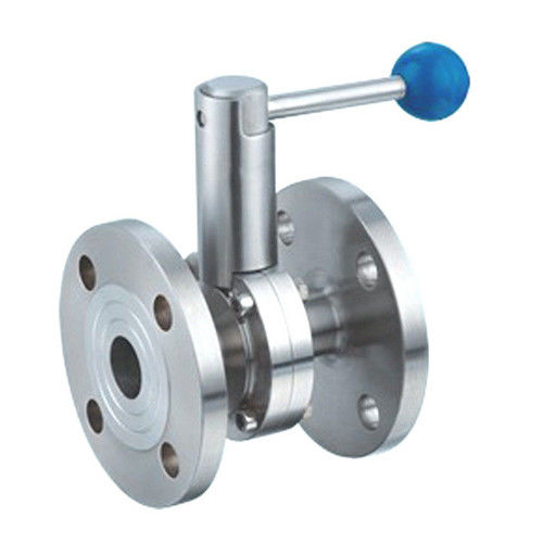 Sanitary Stainless Steel 304,316L Material Flanged Butterfly Valve with Pull Handle