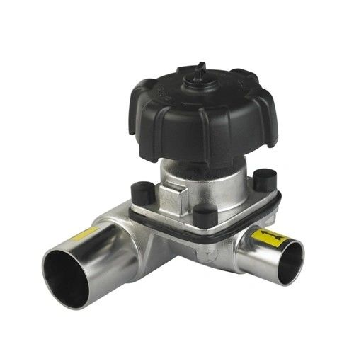 Sanitary Stainless Steel Manual tri clamped welded Three-Way Diaphragm Valve