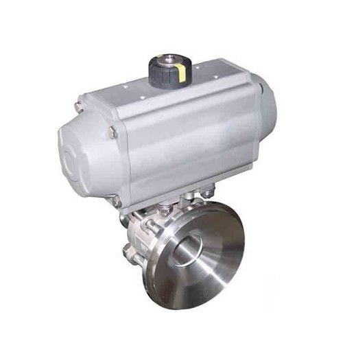 Hygienic Tri Clamp Flange Thread Tank Bottom Non-Retention Ball Valve With Pneumatic Actuator