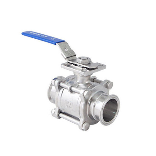 Sanitary 3 Piece Encapsulated tri clamp Ball Valve With ISO 5211 Mounting Pad, Manual Type